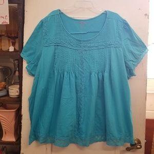 Woman Within 4X 34/36 Aqua Pleated Lace Tee Shirt